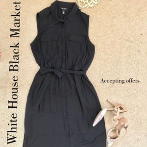 White House Black Market Black Shirt Dress